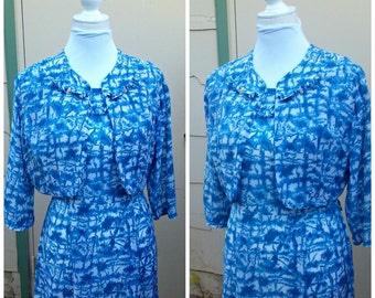 Vintage 1940s 1950s Cay Artley Blue White Abstract Atomic Print Dress Bolero Suit BEMBERG RAYON Rhinestone Pins Medium M