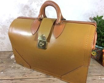 Vintage Large Doctors Bag 2 toned brown leather, expandable, top grain cowhide, no key