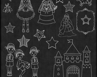 Chalk Art Mix 3,  Chalk Art, Chalkboard Clipart,  Clipart, Children Chalk Art, chalkboard Clip art, Instant Download