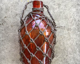 """Pirates Netted Rum Jug 18"""" Beach Decor, Red, Glass by SEASTYLE"""