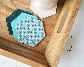 Hexagon Coasters Aqua Coasters Drink Coasters Fabric Coasters Large Coasters Hexagon Felt Coasters Set of Four Office Home Decor