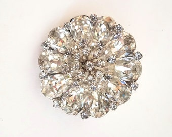 Clear Rhinestone Brooch Tiered Brooch Sparkling Rhinestone Flower Pin Vintage