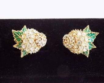Vintage Ciner Earrings Rhinestone Crystals Green Enamel Leaves Signed Designer Earrings