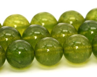 "10MM Olive Green Jade Natural Gemstone Full Strand Round Loose Beads 14.5"" BULK LOT 1,3,5,10 and 50 (101709-403)"