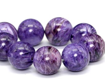 "12-13MM Charoite Beads Russia Soft Color Grade AAA Genuine Natural Gemstone Half Strand Round Beads 4"" BULK LOT 1,3,5,10 (101427hf-373)"