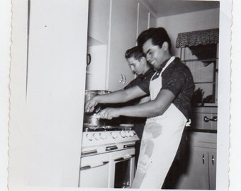 Two Men Cooking Mid Century Modern Photo Food Chef Kitchen Memorabilia Vintage Snapshot Black And White Photograph Americana