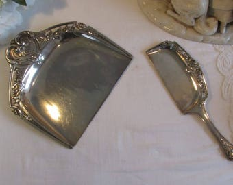 Vintage French silver plate crumb catcher.  Gorgeous design.  Paris apartment, cottage chic.