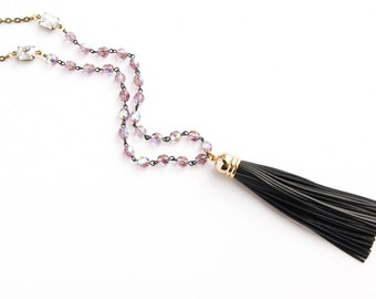 Long Beaded Necklace - Beaded Dark Gray Leather Tassel Long Necklace