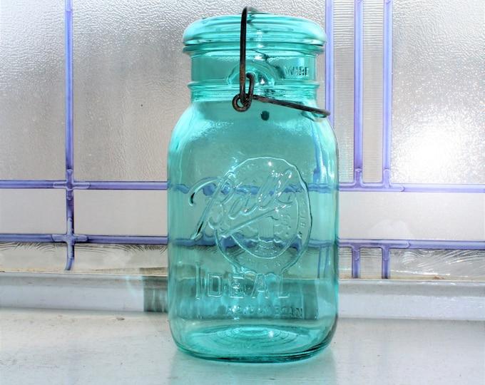 Blue Ball Ideal Quart Jar Bicentennial 1976 Vintage with Glass Lid