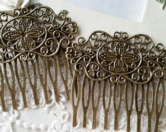 47 x 52 mm Antique Bronze Comb Finding with Setting (t.c)