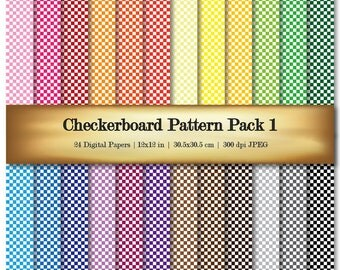 Checkerboard Digital Paper Digital Scrapbooking Paper Assorted White & Bold Color Patterns - Commercial Use OK