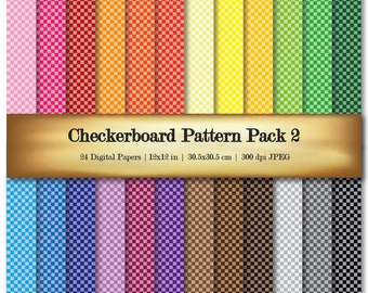 Checkerboard Digital Paper Digital Scrapbooking Paper Assorted Color Patterns - Commercial Use OK