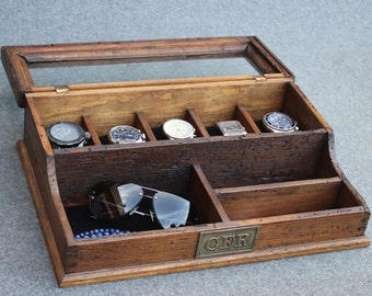 Personalized  Men's Valet and Watch box with Glass Top - Holds 5 watches