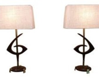 Mid Century Modern, vintage, danish, ceramic and walnut pair of lamps by Rembrandt