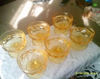 Set Of Six Yellow Glass Dessert Dishes