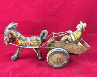 Vintage Marx Wind Up Donkey with Cart & Driver... Antique Tin Toy Farmer Barnyard Pony Horse Burro Figurine Children Game mechanical barn