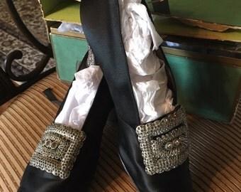 Superb Edwardian Silk and Rhinestone Evening Shoes