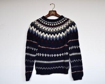Vintage Handmade Icelandic Sweater Alpine Pullover Heavy Wool Nordic Jumper