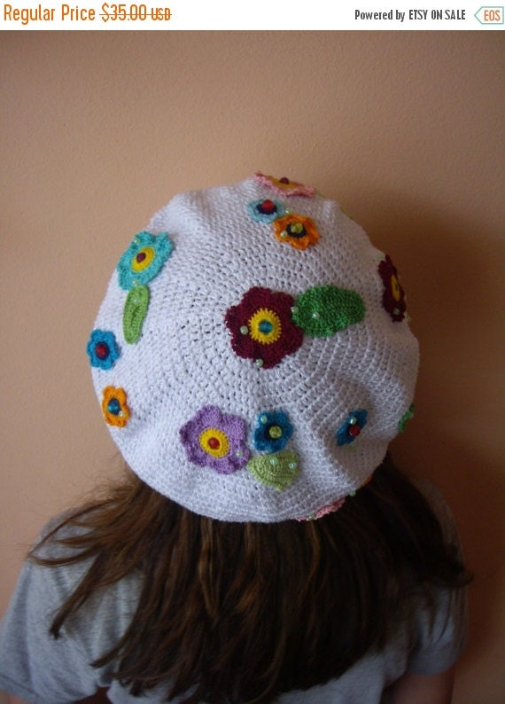 ON SALE - 10% OFF Crochet Flowers Beret