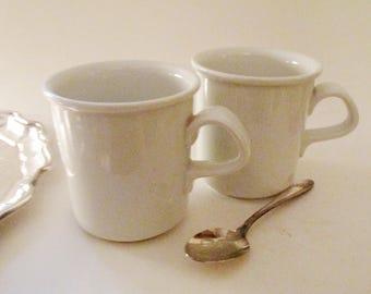 Dansk White Coffee Mugs, Two Coffee Mugs, Cafe Blanc Dinnerware Mugs