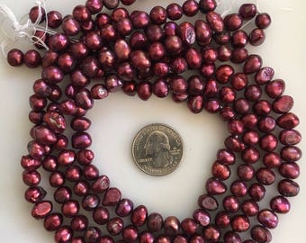 Bead Destash, Dark Red Fresh Water Pearls