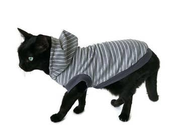 Gray Striped Cat Hoodie -Cat Clothes-Cat Shirt-Sleeveless Cat Hoodie-Cat Clothing-Cat Sweater-Clothes for Cats - Cat Hoodies-Shirts for Cats