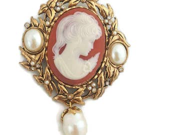 Kenneth Jay Lane Cameo Necklace Cameo Brooch Pendant KJL Extra Large Brooch Kenneth Jay Lane Jewelry Victorian Jewelry KJL Jewelry