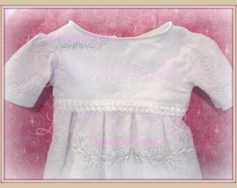 Christening gown baby girl Baptism dress  white monogrammed  handmade in the usa