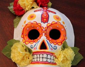 Orange Day of the Dead Mask (Dia De Los Muertos)