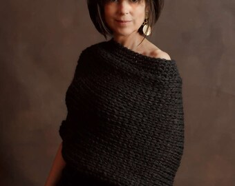 Hand Knit Wool Poncho Handknit Sweater