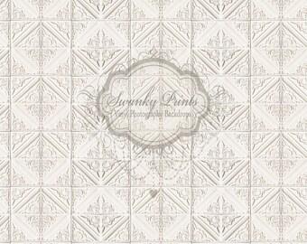 NEW ITEM 8ft x 8ft Vinyl Photography Backdrop / Cream light Ivory Tile Pattern / White