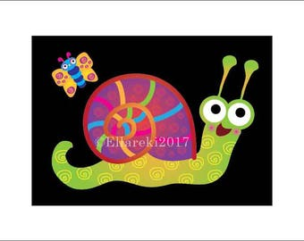Green Snail Greeting Card