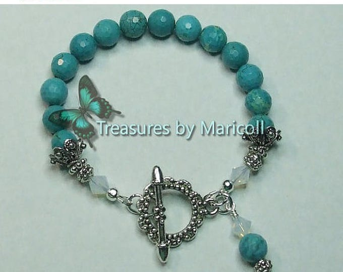 Turquoise and opal swarovski crystal bracelet