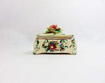 1920s, 3D Rose, Ceramic Box, Powder Box, Capodimonte, Dresser Box, Dresser Bathroom Vanity, Vanity Box, Vanity Bathroom, Jewelry Box