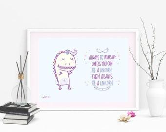 Poster stampato - Dinosauro unicorno