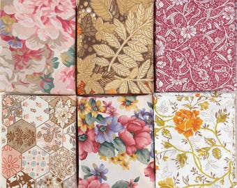 Vintage Fabric Far Quarter Pack, 6 Designs, Sewing Supplies