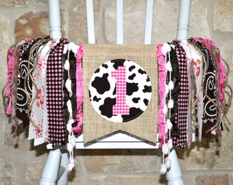 Pink & Brown Vintage Cowgirl first birthday highchair rag banner, girls horse farm ranch party decor ONE high chair garland cake smash photo