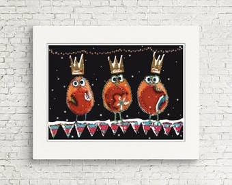 Christmas - 3 Wise men - Robins - Red Robin - Christmas Robin -Christmas Cards PACK of 10 - Blank inside