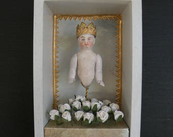 Antique doll, CROWNED Curiosity Box, Shadow Box, Assemblage