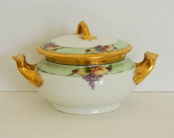Decorative Gold and Fruit Patterned Sugar Bowl