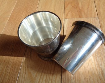 2  Timeless Classic Silver-plated Container Cups which can hold a drink, pens and pencils, a bouquet of flowers and anything else you want