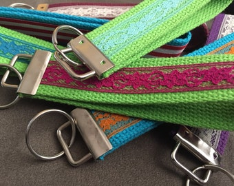 Key Fob - Short Keychain Lanyard Colorful Lace Webbing READY TO SHIP