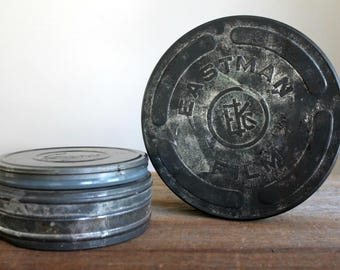 vintage movie canisters Eastman Kodak and Compco, instant collection, movie reel tins, film collectible, vintage film cans