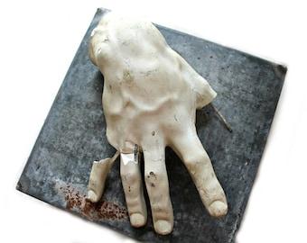 vintage anatomical plaster hand, oddities, unique wall decor, urban loft, urban decor, anatomical oddity, odd art