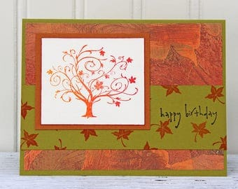 Birthday Card with Orange Tree, Happy Birthday in Fall Colors, Handmade Greeting Card, Falling Leaves, Orange and Olive Green, Personal Note