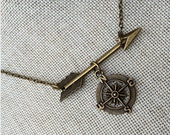 Wander Arrow & Compass Necklace / Compass Necklace / Large Arrow Necklace / Wanderlust / Not all who wander are lost