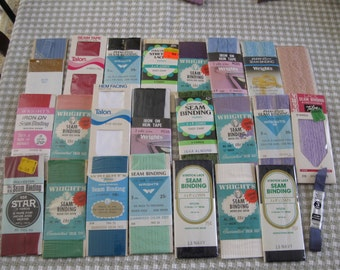 Vintage New Seam Binding and Hem Tape, Assortment of 25 Packs
