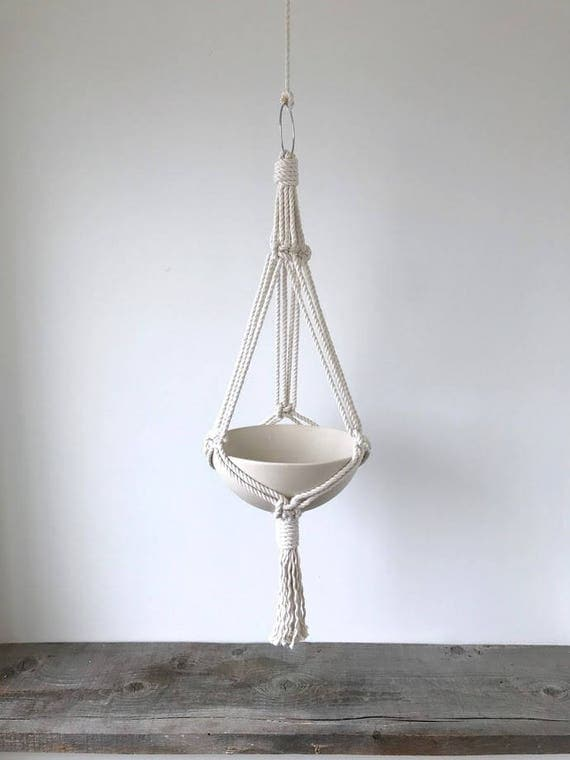 Hanging Bowl Planter, Includes both Porcelain Pot and Macrame Cotton Hanger