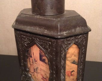 Vintage Chinese pewter tea caddy with reverse painted glass panels