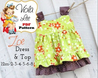 Zoe  Ruffle Dress Pattern, Top Pattern. Girl's Dress Pattern. Jumper Pattern, Girls Sewing Pattern pdf. Toddler Dress Pattern. pdf Pattern